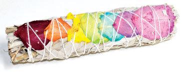 "7"" White Sage 7 Chakra colors stick"