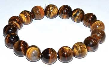 12mm Tiger Eye, Gold bracelet