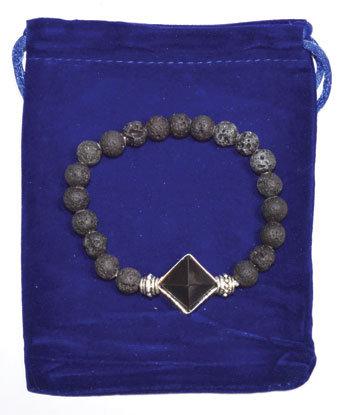 8mm Lava & Black Agate Pyramid bracelet