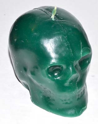 """Green Skull Candle 3 1/2"""""""