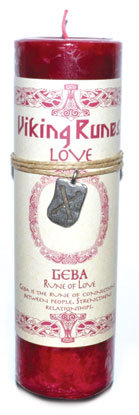Love pillar candle with Geba Rune pendant