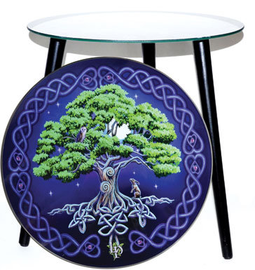 """15 1/2"""" dia Tree of Life glass altar table"""