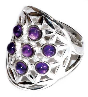 20mm Flower of Life Amethyst adjustable ring