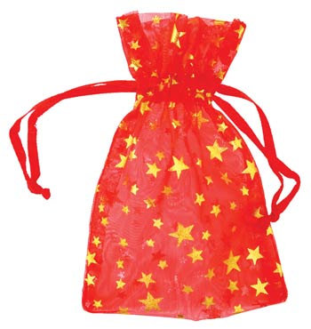 """2 3/4"""" x 3"""" Red organza pouch with Gold Stars"""