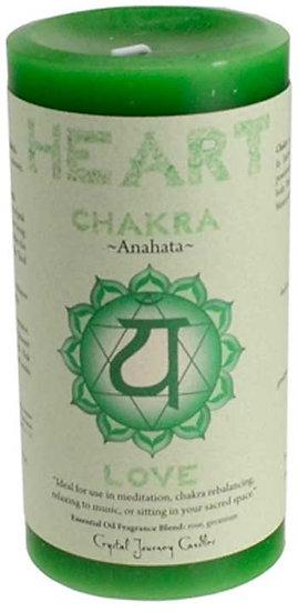 "Heart Chakra pillar candle 3"" x 6"""