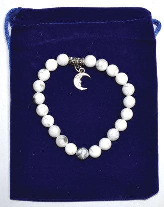 8mm Howlite & Cresent Moon bracelet