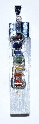 Selenite 7 Chakra rough pendant