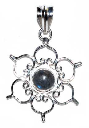 "1.25"" Lotus labradorite pendant"