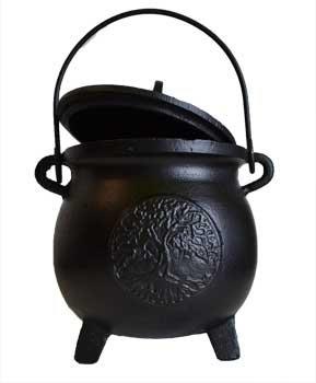 "6"" Tree of Life cast iron cauldron w/ lid"