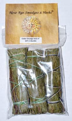 "Cedar smudge stick 3-Pack 4"""