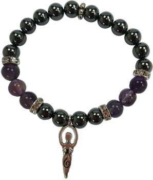 8mm Hematite (man-made)/ Amethyst with Goddess