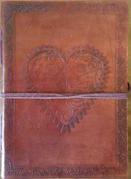 """5"""" x 7"""" Heart leather blank book w/cord"""