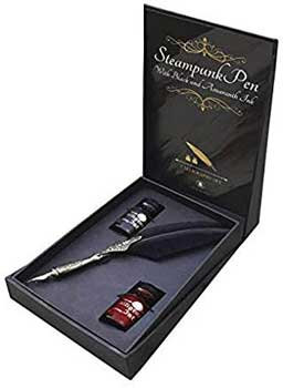 Steampunk Pen with Black & Amaranth Ink calligraphy set