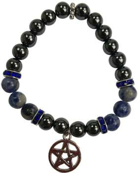 8mm Hematite (man-made)/ Sodalite with Pentagram