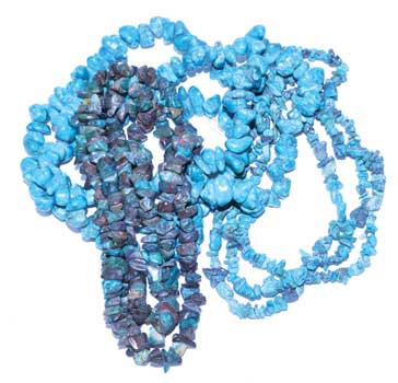 """32"""" Turquoise color chip necklace"""