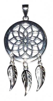 "3/4"" Dreamcatcher sterling pendant"