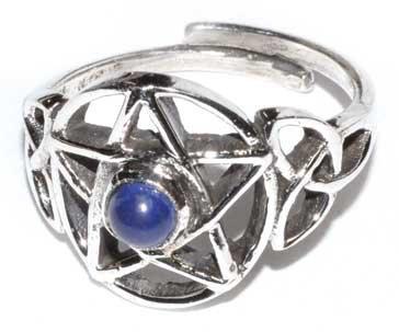 Pentacle lapis adjustable ring