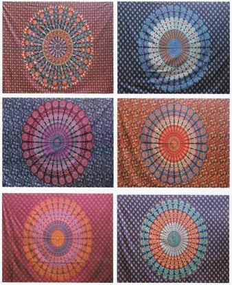 """58"""" x 82"""" Mandala tapestry (mixed colors)"""