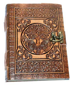 """5"""" x 7"""" Tree of Life Embossed leather w/latch"""