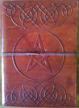 "5"" x 7"" Pentagram leather blank book w/cord"