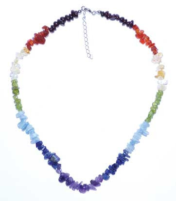 "18"" 7 Chakra chip necklace"