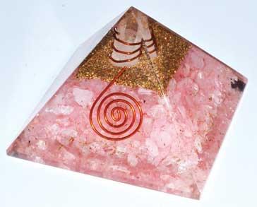 70mm Orgone Rose Quartz & Quartz Point pyramid