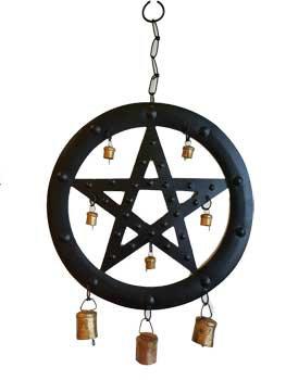 """9 1/2"""" Black Pentagram wind chime"""