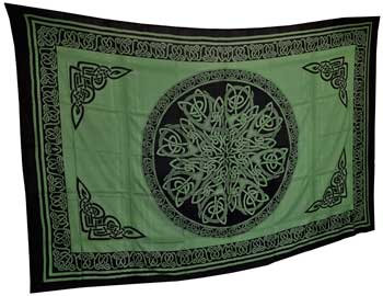 """Ancient Celtic Knot Tapestry Green & Black 72"""" x 108"""""""