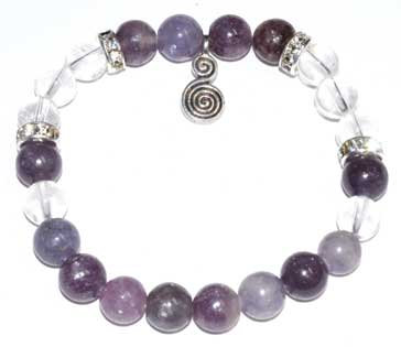 8mm Lepidolite with Double Spiral
