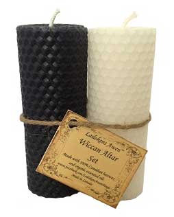 """4 1/4"""" Wiccan Altar set black & white Lailokens Awen candle"""
