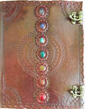 """10"""" x 13"""" Chakra leather blank book w/ latch"""