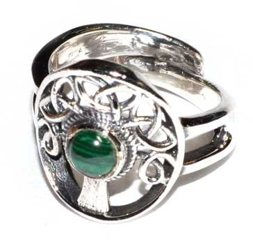 Tree malachite adjustable ring