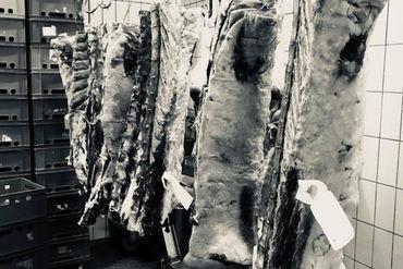 Frische SChweinehälften hängen im Kühlraum