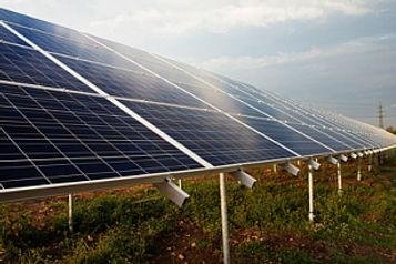 Solarpaneele auf grüner Wiese