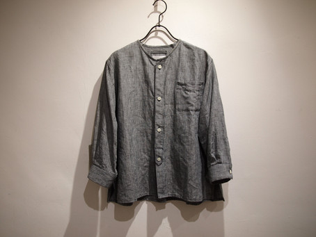 no collar box shirts (indigo千鳥)