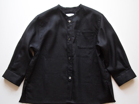 no collar box shirts / black linen