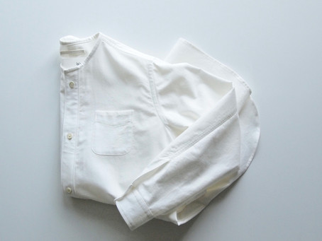 no collar long shirts / white / ライトモールスキン