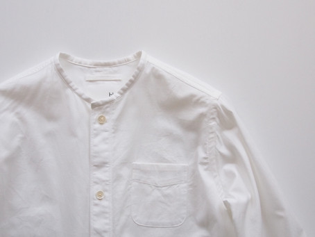 no collar long shirts / white