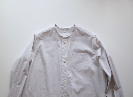 no collar long shirts / off white×gray / コードレーン