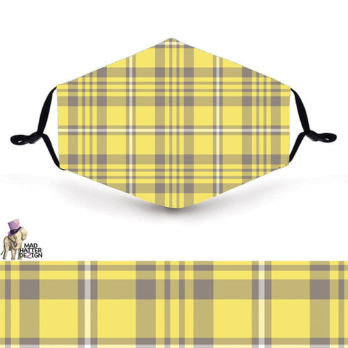 Yellow & Grey Plaid Mask