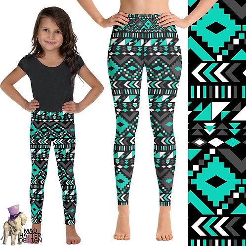 Aztec Teal & White Leggings