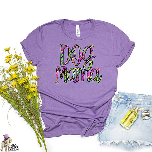 WS: Dog Mama Bright Stripes Tee