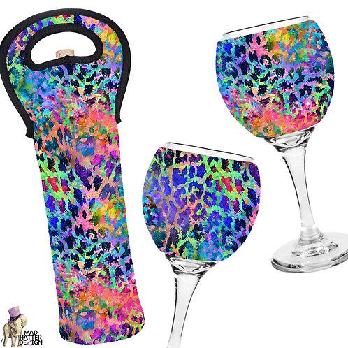 Neon Cheetah Wine Cozy Set