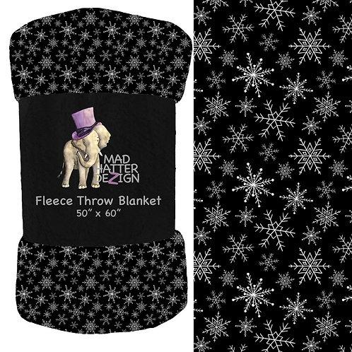 Snowflakes Black Blanket