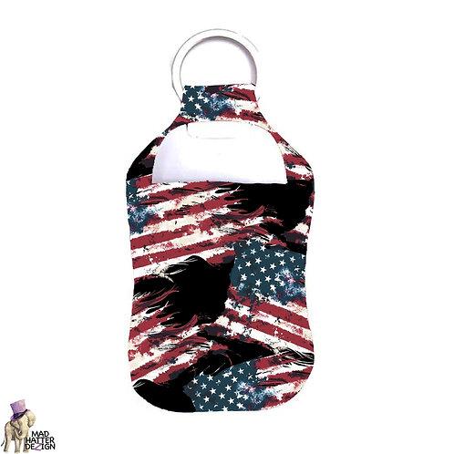 Grunge Flag Sanitizer Keychain