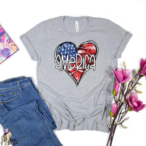 WS: American Flag Heart Tee