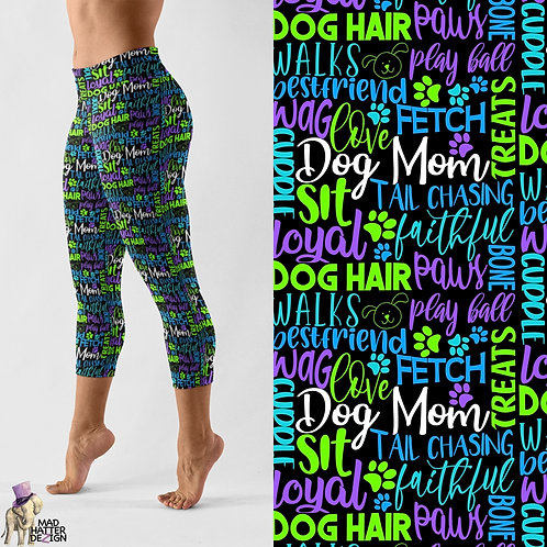 WS: Dog Mom Subway Art Capris