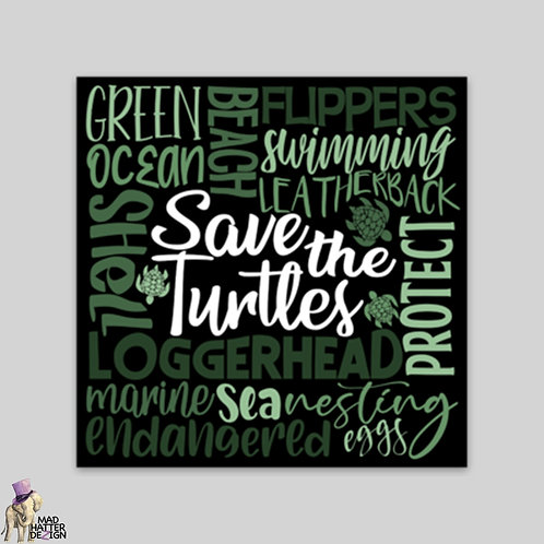 WS: Save The Turtles Subway Art Magnet