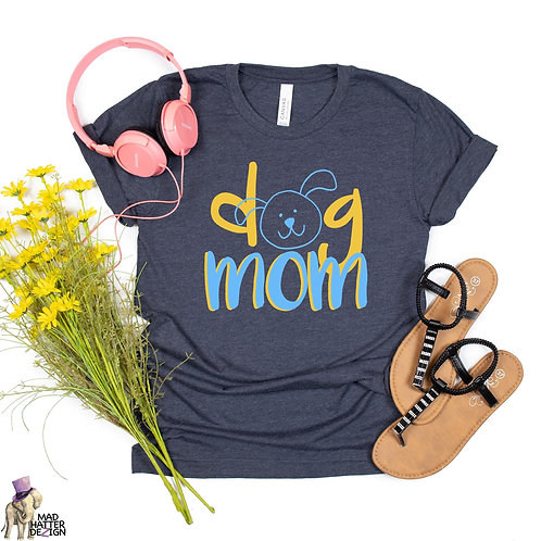 WS: Dog Mom Yellow & Blue Tee