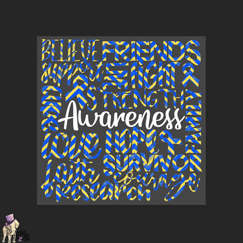"WS: Awareness Blue & Yellow Subway Art (4"")"